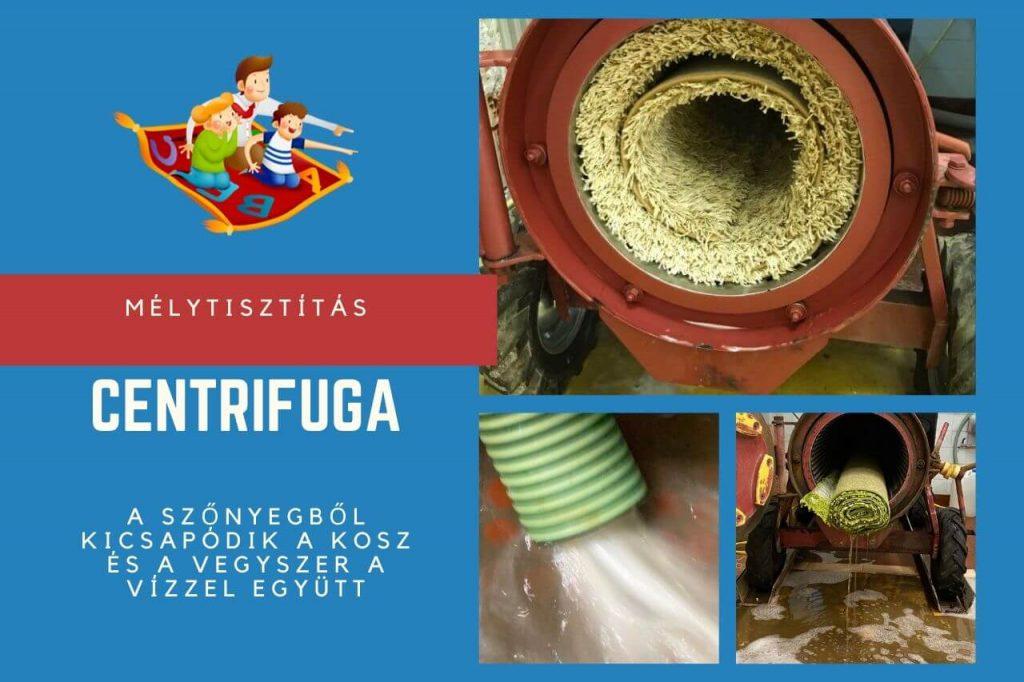 A szőnyegtisztítás befejező fázisa a centrifuga használata, aminek a hatására a szőnyegből kicsapódik a kosz és a vegyszer a vízzel együtt.