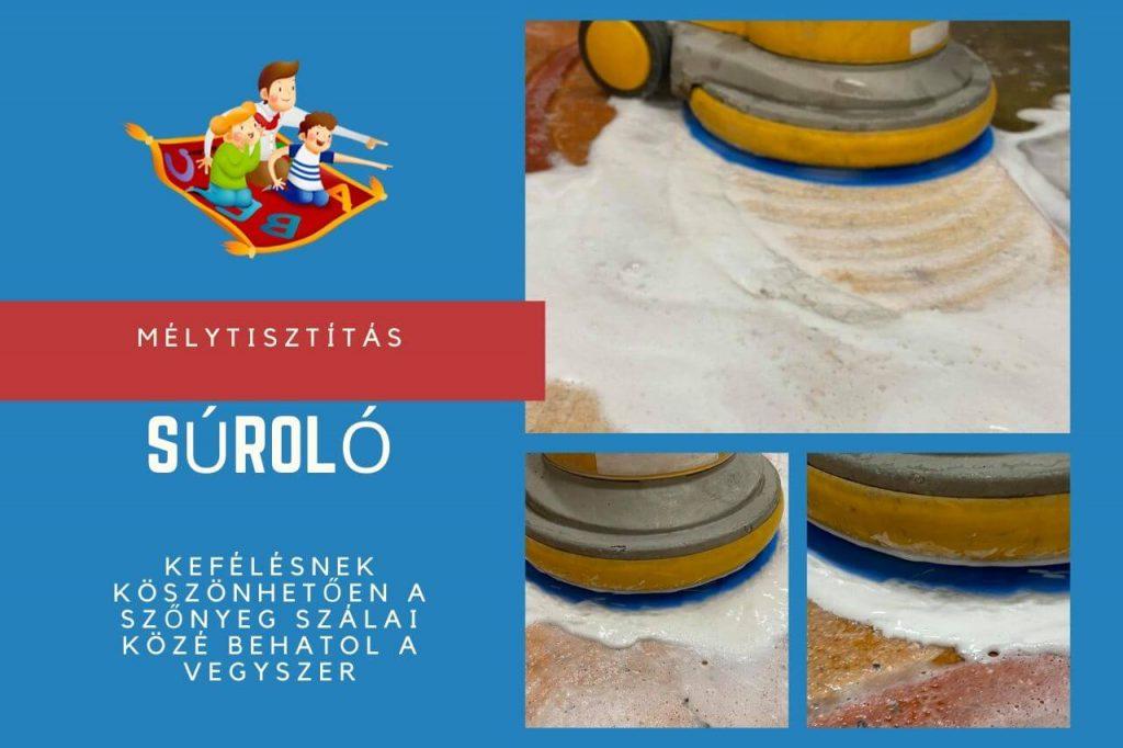 A súrológépnek köszönhetően a szőnyeg szálai közé behatol a vegyszer a szőnyegtisztítás közben.
